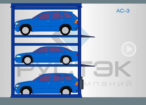 Флэш-анимация автомобильных лифтов-подъемников модели AC-3